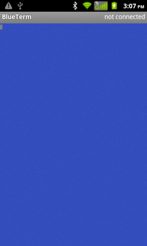 Opening screen of BlueTerm App